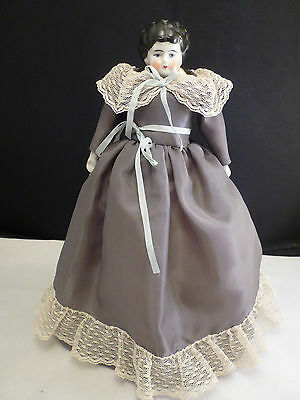 """Antique  German  China  Head  -  Low  Brow 9""""  Tall    In Dress With Feet"""