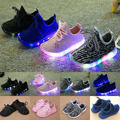 New Kids Child Boys Girls LED Light Up Trainers Knitted Sneakers Luminous Shoes