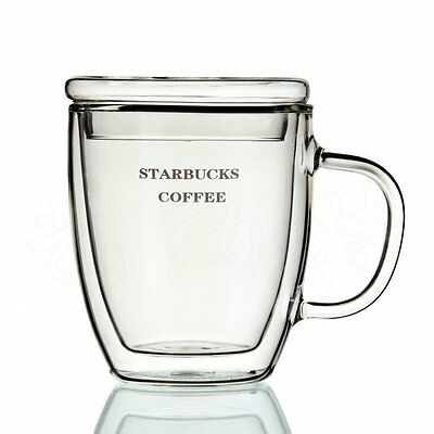 Double Walled Glass Tea Cup with Handle & Lid /Cap Starbucks Coffee Glasses Mug