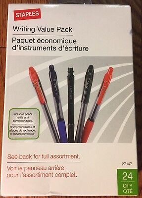 NWT Staples Writing Value Pack (24 Total) Pens Pencils & Accessories