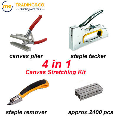 Canvas Stretching Kit Tools Canvas Plier + Tacker + Staple Remover +2400 staples