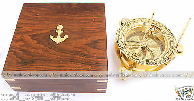 "Antique Vintage Maritime Brass Circular Sundial Compass 4"" With Wooden Box"
