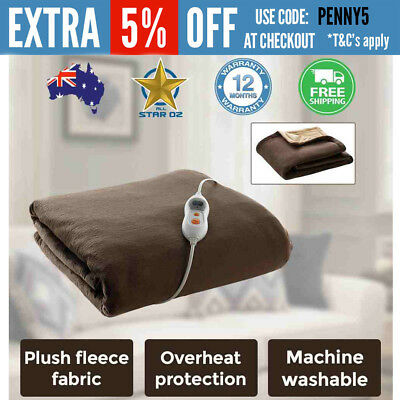 Electric Blanket Throw Rug Heated Grey Fleece Finish Heller Machine Washable