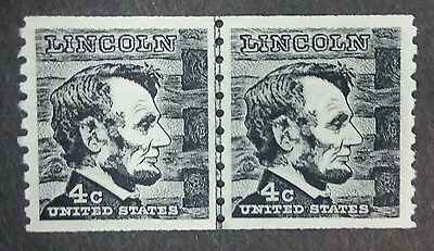 US MNH 1303c Line Pair EFO Tagging Omitted SCARCE 4 cent Lincoln joint LP A3