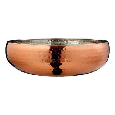 Rose Gold Bowl 9x26cm Stainless Large Steel Hammered Fruit Serving Display Dish