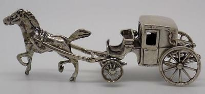 Vintage Solid Silver Old Carriage Miniature - Stamped - Made in Italy