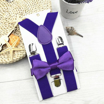 Hot Polyester Kids Design Suspenders Bowtie Bow Tie Set Matching Ties Outfits ZM