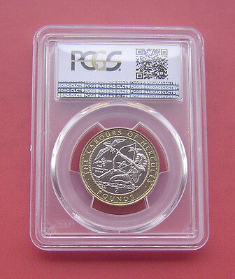 Gibraltar 1999AA The Stymphalian Birds 2 Pounds Bimetallic Coin PCGS MS63
