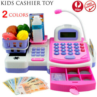 Kids Toys Simulation Cash Register Pretend Shopping Cashier Role Play Game Set