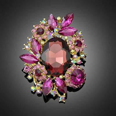 Gorgeous Silver Plated Purple Crystal Vintage Inspired Statement Brooch