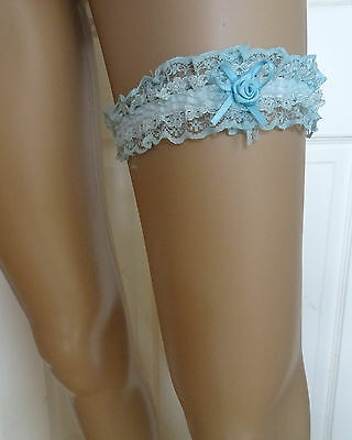 Bridal Satin Blue Lace garter with Blue satin rosette and bow detail