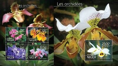 NIG14522ab Niger 2014 orchids orchidees MNH SET