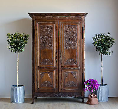 French Antique 18C Knockdown Cherrywood Carved Double Wardrobe Armoire Cupboard