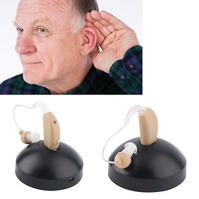 2x Small Adjustable Hearing Aids Aid Digital Tone Behind Ear Sound Amplifier #GA