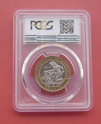 Gibraltar 1998AA The Erymanthian Boar 2 Pounds Bimetallic Coin PCGS MS 65