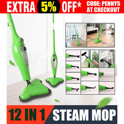 1300W 12 in 1 Foldable Steam Mop Handheld Steamer Cleaning Cleaner Floor Carpet
