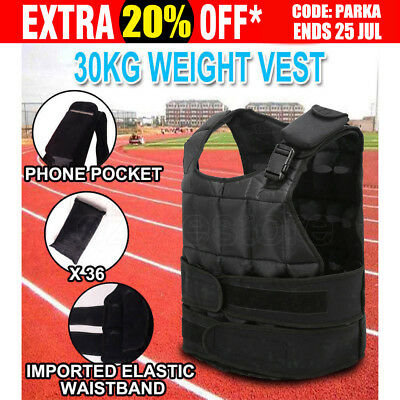 30KG Weight Vest Adjustable Weighted Cross Fit Training MMA Gym Exercise Fitness