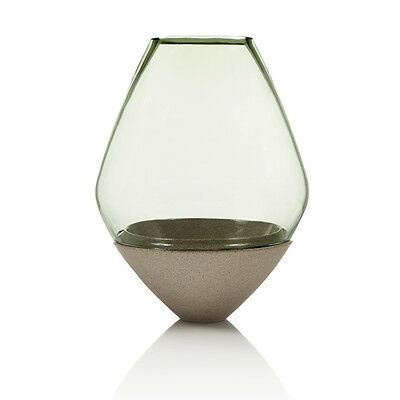 Utopia & Utility Green Glass And Earthenware Ceramic Base Vase