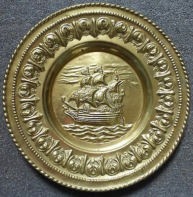 Wall Hanging Hammered Brass Galleon / Ship Scene Charger / Plate
