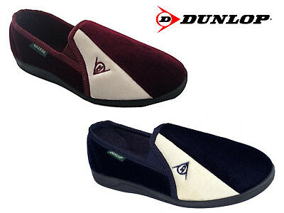 Mens Dunlop Slippers 'Duncan' Velour Two-Tone Twin Gusset Size 6-13 UK