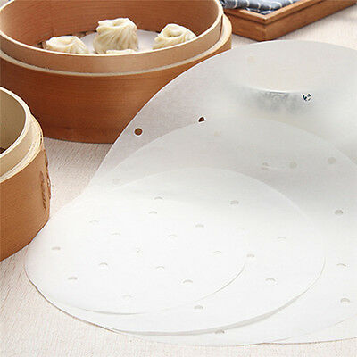 50X Round Steam Dim Sum Paper Kitchen Non-stick Under Bamboo Cookers Steamer Mat