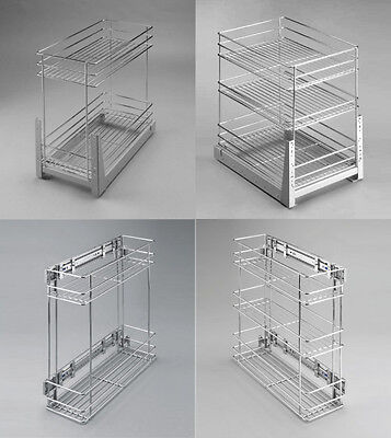 Pull Out Wire Cargo Basket Side/Front Mounting Kitchen Larder Storage Cupboard