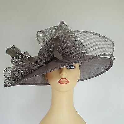 Ladies Formal Hat Wedding Races Mother Bride Silver Grey Bow Feathers NEW