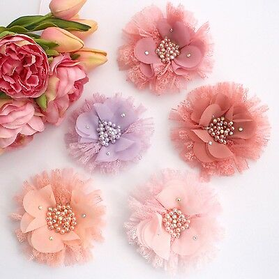 1 x  Chiffon lace Pearl Rhinestone flowers-for millinery,hair,crafts