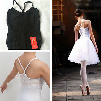 Adult Women Cotton Ballet Gymnastics Dance Leotard Bodysuit Gym Lace Black White