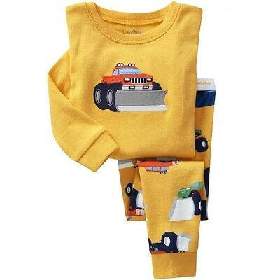 Bulldozer pattern Boys pajamas Long-sleeved trousers set 2T-7T cozy Breathable