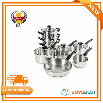 Morphy Richards Equip Stainless Steel And Lid Knobs 8 Piece Pan Set  970001