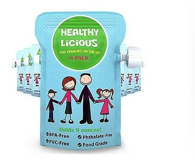 Refillable Pouches for Baby Food Reusable Kids Snacks Puree Apple Sauce Squeeze