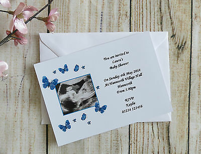 Pack 10 Personalised Baby Shower Invites With Scan Picture Pink Blue Butterflies