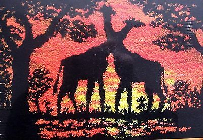 "Latch Hook  Animal Rug Making Kit  ""giraffes At Sunset"""