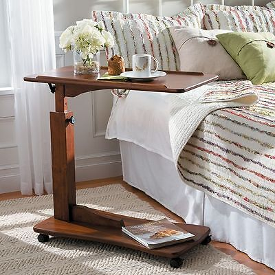 Adjustable Rolling Portable Overbed Bedside Table Reading Tray Table 4 Colors