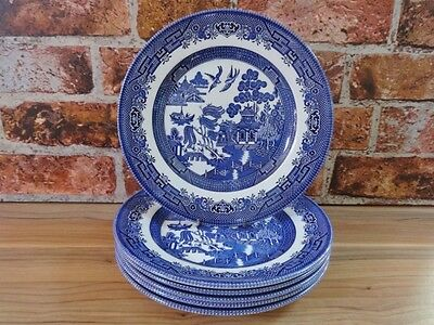 Churchill Blue and White Willow Pattern 6 Dinner Plates