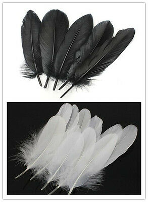 Beautiful natural goose feathers 6-8 inches / 15-20 cm white / black 20-200pcs