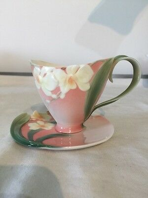 Franz Porcelain ~ Winter Moth Orchid ~ Cup And Saucer Set ~ Fz00033