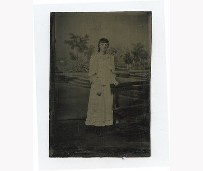 Tintype Studio Portrait Young Lady W/ Bench + Painted Backdrop