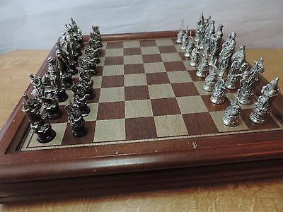 Danbury Mint Selangor Pewter Camelot Boxed Chess Set with Board and Pieces