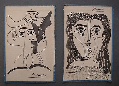 PABLO PICASSO     TWO  INK DRAWING ON ORIGINAL CARDBOARD OF THE 30s