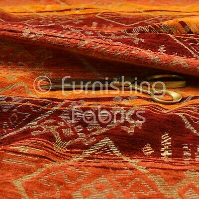 Heavyweight Kilim Aztec Pattern Orange Red Chenille Upholstery Curtain Fabrics