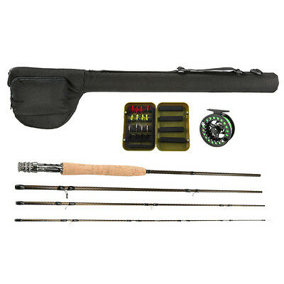 Carbon Fly Fishing Rod with Metal Reel Wheel Line Lures Combo Kit Fishing Bag