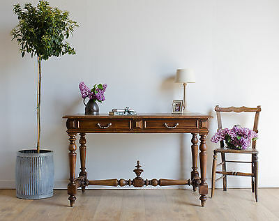 Antique 19th Century French Oak Writing Desk / Table with Drawers