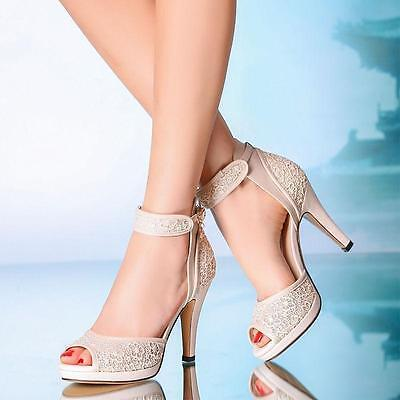 Hot Ivory Bride party open toe ankle strap High heels Wedding lace sandals shoes