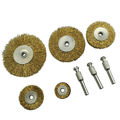 8Pcs Stainless Steel Handle Deburring Center Wire Wheel Brush Round Hole