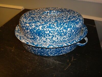 Antique Graniteware Covered Roasting Pan Blue & White Swirl No Chips WoW Conditi