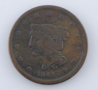 1842 Braided Hair Large Cent Penny 1c (VG) Very Good Condition