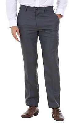 Men's Flat Front Smart Formal Pants Office Supercrease Tailored Fit Trousers