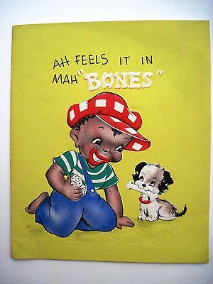 Adorable 1948 Black Americana Get Well Card w/ Cute Boy & Puppy *